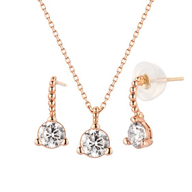 14K Bubble Wink set [Necklace + earring]
