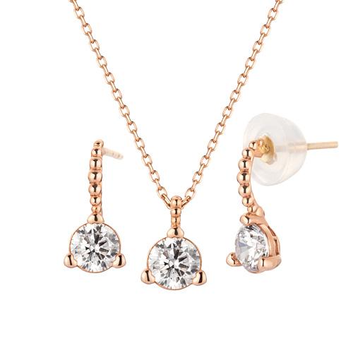 14K Bubble Wink set [Necklace + earring]