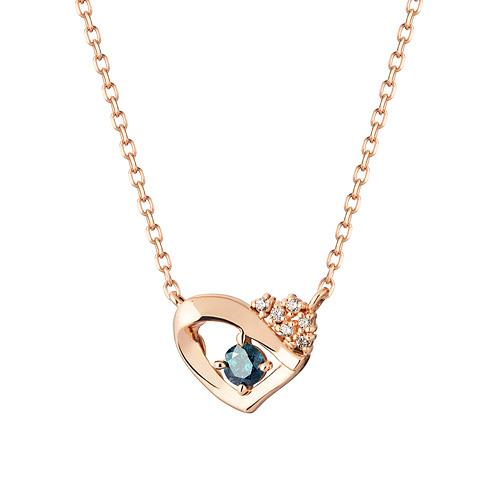 14K / 18K Noble Heart 1 part blue diamond Necklace [overnightdelivery]