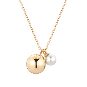 14K pearl drop Necklace [Swarovski Stone]