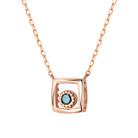 14K / 18K square ring part 1 blue diamond Necklace