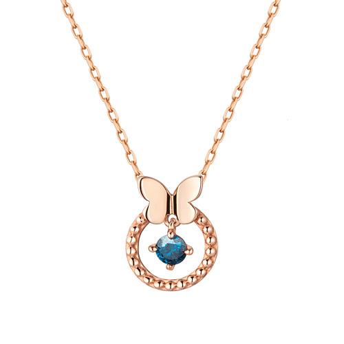 14K / 18K Beads Butterfly Part 1 blue diamond Necklace