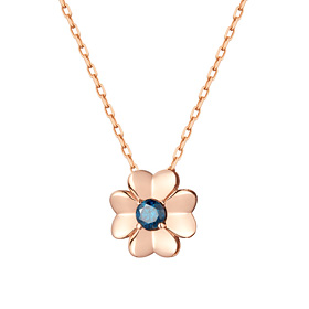 14K / 18K Love Clover 1 piece blue diamond Necklace