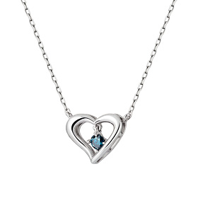 14K / 18K milk heart 1 part blue diamond Necklace