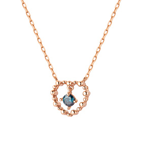 14K / 18K Bubble Heart 1 part blue diamond Necklace