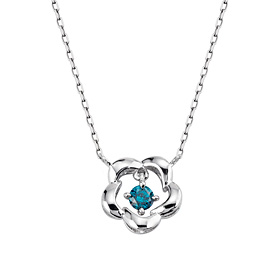 14K / 18K winter snow flakes part 1 blue diamond Necklace