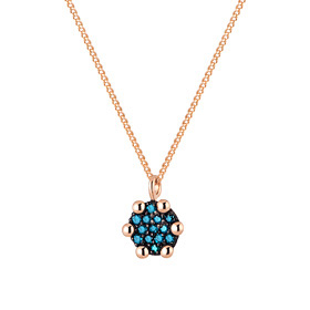 14K / 18K Mini Round Blue Diamond Necklace