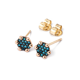 14K / 18K mini round blue diamond earring
