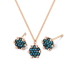 14K / 18K mini round blue diamond set [Necklace + earring]