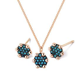 14K / 18K mini round blue diamond set [Necklace + earring]