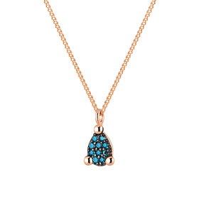 14K / 18K mini teas blue diamond Necklace