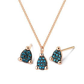 14K / 18K mini teas blue diamond set [Necklace + earring]