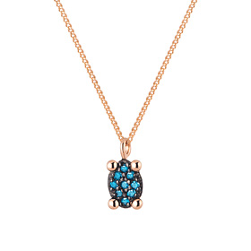 14K / 18K mini oval blue diamond Necklace