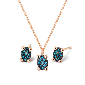14K / 18K mini oval blue diamond set [Necklace + earring]