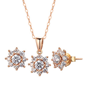 14K / 18K GARDNIA 1 set [Necklace + earring] [swarovski]