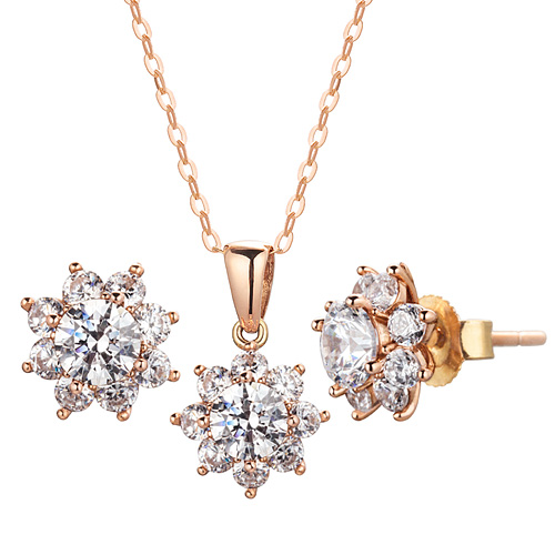 14K / 18K GARDNIA 3 pcs set [Necklace + earring] [Swarovski Stone] [overnightdelivery]
