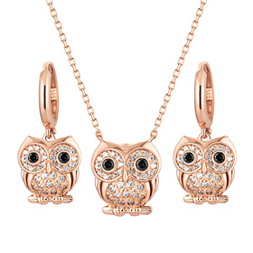 14K / 18K Lily Owls set [Necklace + earring]