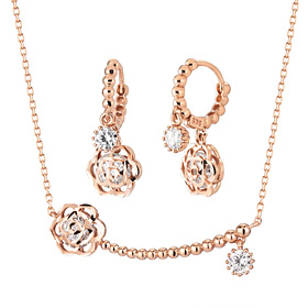 14K / 18K Bubble Rose set [Necklace + earring]