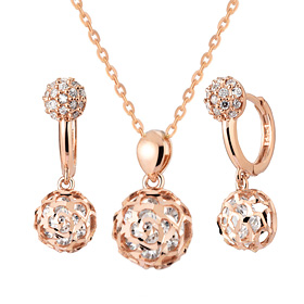 14K / 18K Prison Rose set [Necklace + earring] [overnightdelivery]