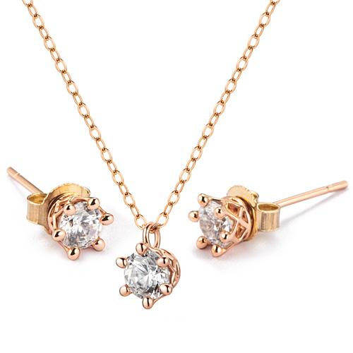 14K Circle Crown set [Necklace + earring] [Swarovski Stone] (overnightdelivery)