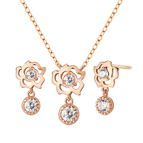 14K Rose Swing set [Necklace + earring]