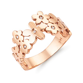 14k / 18k flower way ring + shopping bag present