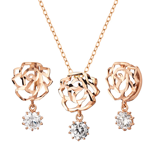 14K / 18K Sweet Rose set [Necklace + earring]