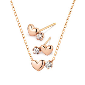 14K / 18K Cheung Heart Set [Necklace + earring]
