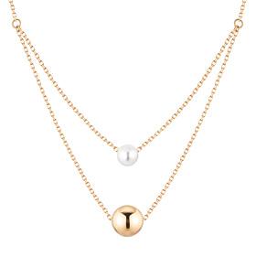 14K Curtain Circle Pearl Necklace [Swarovski Stone]