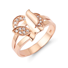 14k / 18k heart butterfly ring