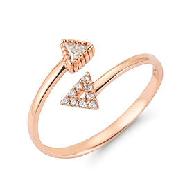 14k / 18k twin triangular open ring