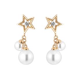 14K Pearl Star Pearl Earring [Swarovski Stone]