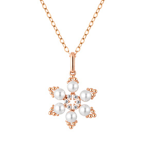 14K eye blossom pearl necklace [swarovski]