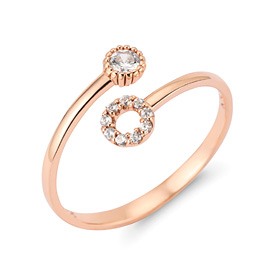 14k / 18k Twin Circle Open Ring