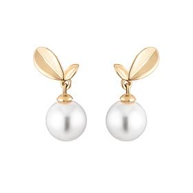 14K Love sprout pearl earrings [swarovski]