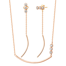 14K / 18K wave stick set [Necklace + earring]