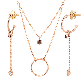 14K / 18K coin loop set [Necklace + earring]