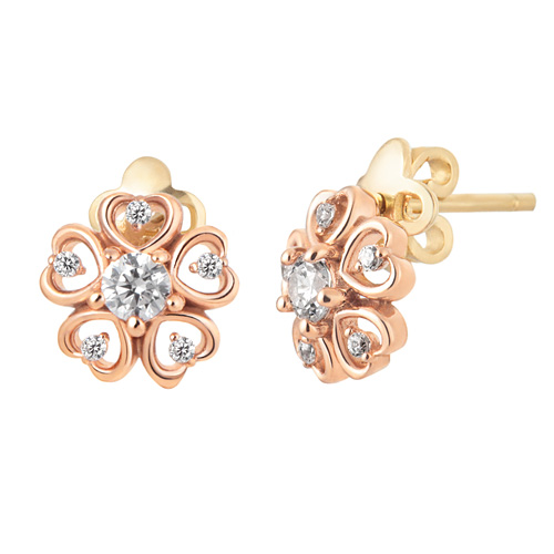 14K / 18K Flower Heart Earring