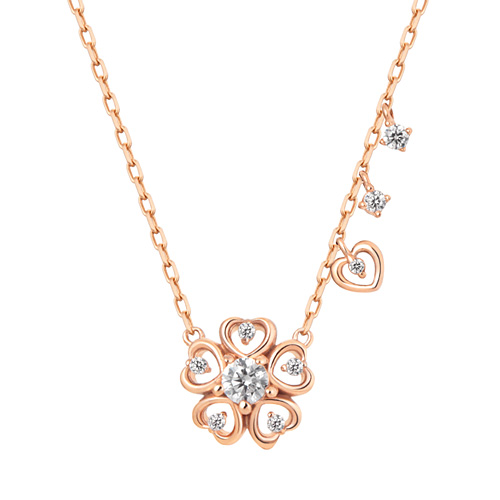 14K / 18K Flower Heart Necklace