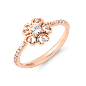14K / 18K Flower Heart Ring