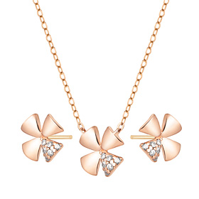 14K / 18K Shine Clover set [Necklace + earring]