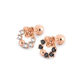 14K Circle Rose Piercing [2 couples 1]