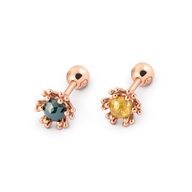 14K bubble flower rough diamond piercing [2 couples 1]
