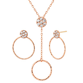 14K Shine Circle ten pieces set [Necklace + earring]