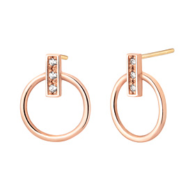 14K circle cube earring [overnightdelivery]