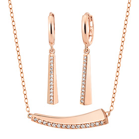 14K / 18K blond set [Necklace + earring]