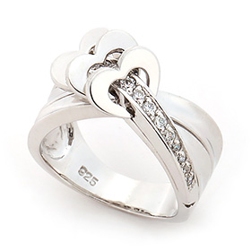 Silver Heartfloor Heart Ring