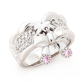 Silver Pinky Ribbon Silver Ring
