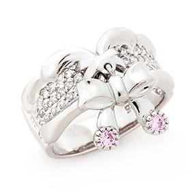 Silver Pinky Ribbon Silver Ring
