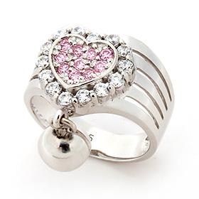 Silver Koi Heart Silver Ring